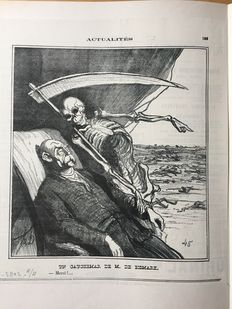 5 prints by Honoré Daumier (1808-1879) - Un cauchemard de Bismarck and 4 other representations from the Charivari