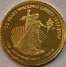 Cook Islands - 1 Dollar 2007 '100 Years Walking Liberty' - ½ gr. Gold