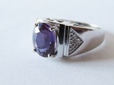 925 silver ring with 20 ct violet/blue spinel - Diameter: 20 mm