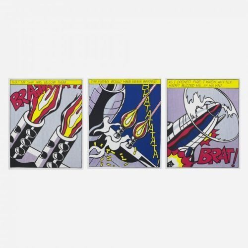 Roy Lichtenstein - 'As I Opened Fire' - Triptych - (1967)