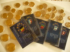 Europe - Lot of 5 gold plated series of Euro coins (Austria, Finland, Belgium, Luxembourg, Portugal)