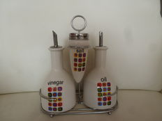 Vintage oil and vinegar set with ceramic salt and pepper shakers