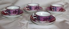 J & P / Jackson & Patterson  Newcastle-upon-Tyne pearlware - 4 cups and saucers pink lustreware