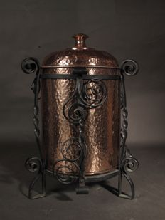 Arts & Crafts wrought iron and hammered copper coal bin
