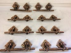 Vintage iron door handles - eight pieces - early/mid 20th century - France