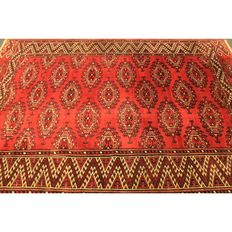 Schöner  Art Deco Jomut Buchara UDSSR Orientteppich Wolle auf Wolle um 1930 Made in UDSSR 220x150cm Old Carpet Collector Piece Tappeto Antique Tapis Tapijt