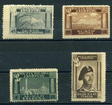 Poland, 1946, Polish Corp - Polish victory in Italy, different colours Sassone no. 9-12