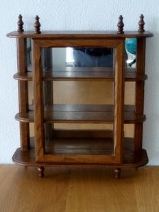 Oak display case cabinet with mirrors