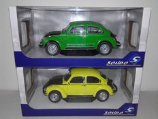 Solido - Scale 1/18 - VW Beetle 1303 S Green/Black, World Cup '74 & VW Beetle 1303 GSR Yellow/Black