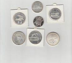 Russia - 5 Roubles, six pieces 1978 (different ones) and a 1983 Rouble.