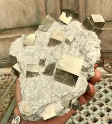 Large piece of matrix with huge Pyrite mono crystals - 22,5 x 15 x 9 cm - 3.18 kg