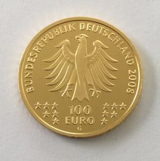 Germany: 100 EUR gold coin 2008 PP UNESCO World Heritage old town Goslar - Rammelsberg Mines.