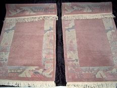 A pair high quality Tibetan nice and high quality handmade wool fantastic carpet /rug/tapijt - Tibet/Nepal - First half of the 21 th century -  No reserve, bidding starts at €1.