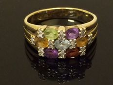 14 kt gold ring with precious stones and diamonds, ring size:  18.5 mm