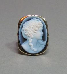 14 kt yellow gold ring with agate- gem, 20 x 15 mm, approx. 6.3 g