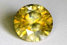 Diamant - 0.55 ct  - Fancy Greenish Yellow - SI2 - Zonder Reserve Prijs