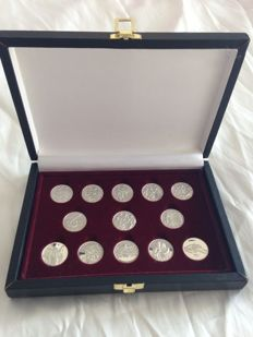 Vintage set of 13 Marriage Coins with definitions of Jesus Christ, in pure silver S.C.
