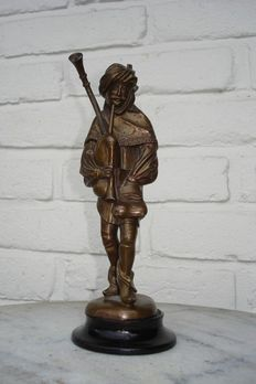 Bronze sculpture/statue of a bagpipe player - marked Lenz - Germany - Approx. 1900