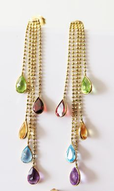 Gold 585 earrings / drop earrings with natural colourful gemstones totalling approx. 4.1 ct