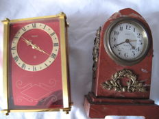 lot of 2 small travel clocks, Jaeger and Dep a voir, France ca. 1960