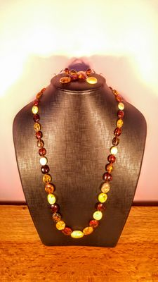Genuine Baltic Amber mixed colour set, long necklace and earrings, 46 grams