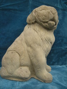 Decorative, solid stone statue of a seated dog, mid 20th century,