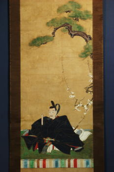 Hanging scroll - Sugawara no Michizane, Patron of Scholars - Japan - 1830s (Edo Period)