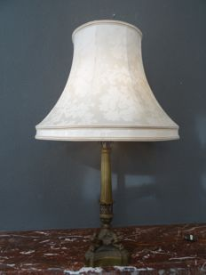 Empire style heavy bronze floor lamp with damask lamp shade by Vogue, early 20th century