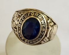 Gold college ring, USA, Rockford West High School
