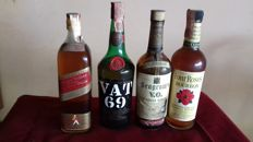 4 bottles - Seagram, Vat 69, Four Roses & Johnnie Walker