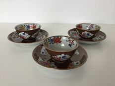 Set of 3 cups and saucers – China – 18th century