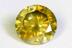 Diamant - 0.59 ct - Fancy Greenish Yellow - SI1 - Zonder reserve prijs