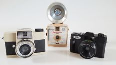 3 plastic camera's from the 60's and 80s