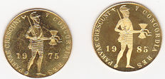 The Netherlands – Ducat 1975 and 1985 Juliana and Beatrix – gold