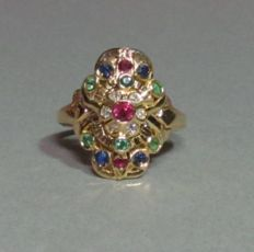 Cocktail ring in 18 kt yellow gold with diamond, sapphire, emerald and ruby