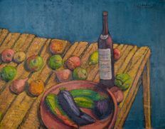 Lionel Francis Herbert. (D. 1977) - A still life of wine and fruit on a table.
