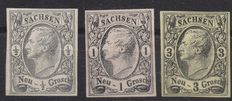 Germany, Old States - Saxony, 18515 1/2, 1, 3, Groschen, not perforated, Michel no. 8/9/11
