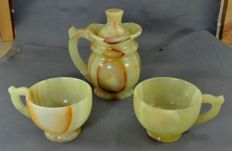 Hand Carved  three Pieces Tea Set of Calcite with Jasper - Pakistan - 2nd half 20th