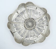 Richly decorated silver dish, international hallmarked 900