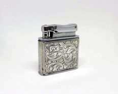 Petrol lighter in chromed metal and silver (hallmark 835) - mid 20th century