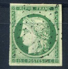 France 1849 – 15c green Ceres, signed Brun, Calves & Roumet – Yvert no. 2.