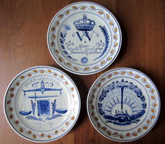 Porceleyne Fles - Three World War I Memorial Plates.