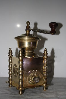 Beautiful copper coffee grinder full of beautiful ornaments and decorations, France, first half of 20 century