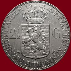 The Netherlands - 2½ guilder coin 1898 (variant without dot), Wilhelmina - silver.