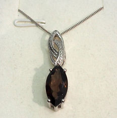 1 ct Smokey Quartz Gemstone And Diamond Pendant Necklace - Silver 925/1000