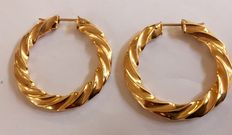 Gold creole earrings, twisted  model XL.