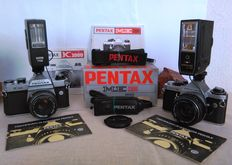 Classic Pentax cameras:  K1000 (1977) and  ME Super (1980)