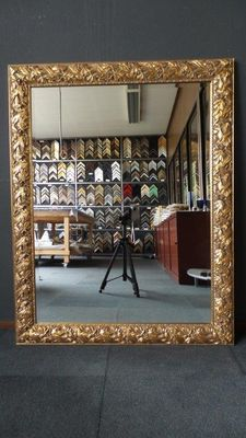 Large and wide mantelpiece mirror with facet cut glass -gold plated frame with beautiful treatments - antique gold