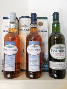3 bottles - Finlaggan Single Malt: 10 years Lightly peated, The Original peaty & Old Reserve.