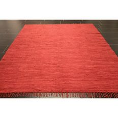 Beautiful hand-woven Gabbeh Kilim oriental carpet, single-colour Indo Gabbeh Kilim, 240 x 200 cm, made in India around 1990